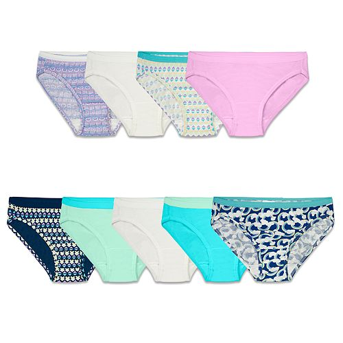 Girls 4-14 Fruit of the Loom® 9-pack Signature Super Soft Bikini Panties