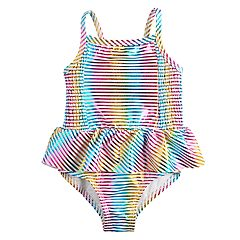 Toddler Girl Penny M Foiled Stripe One-Piece Swimsuit