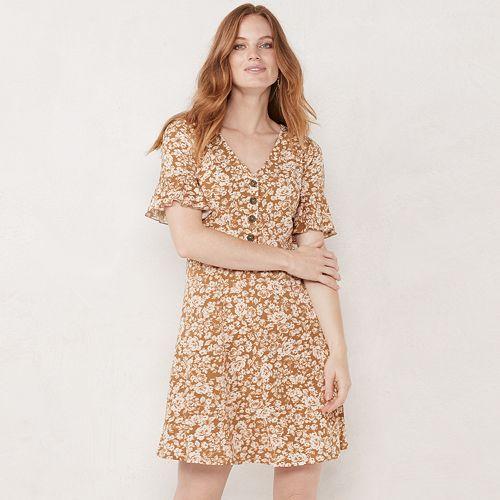 Women's LC Lauren Conrad Button Front Fit & Flare Dress