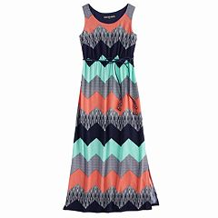 Girls 7-16 Three Pink Hearts Printed Racerback Maxi Dress
