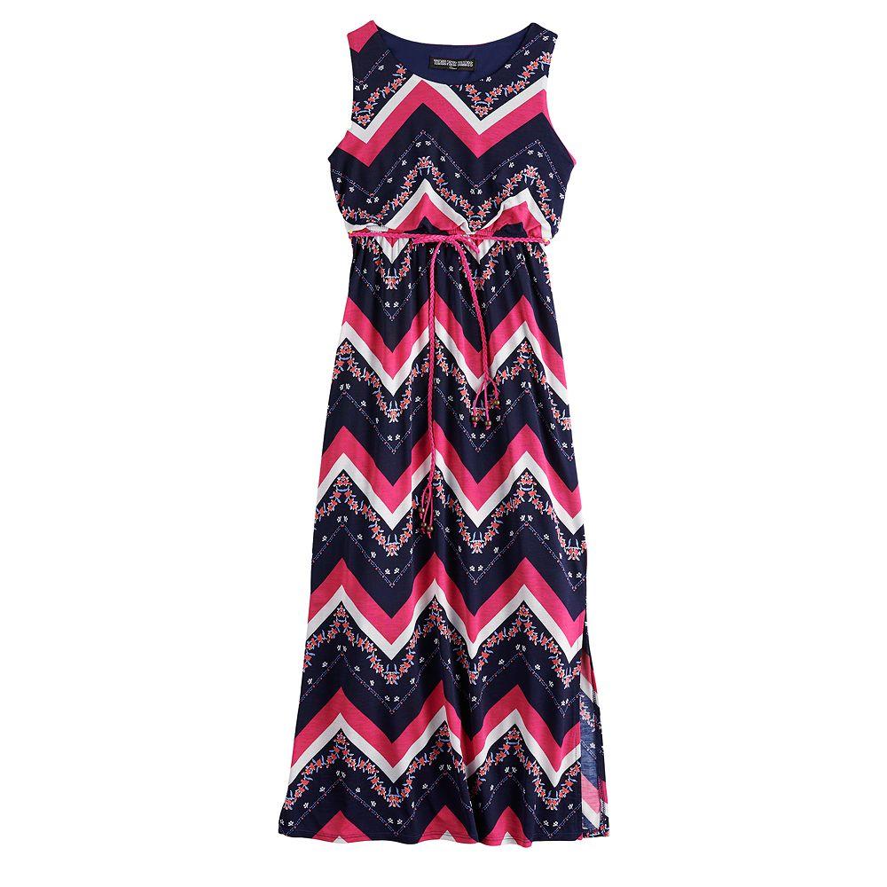 Girls' 7-16 Three Pink Hearts Printed Racerback Maxi Dress