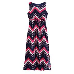 13eaa53ba8083 Girls 7-16 Three Pink Hearts Printed Racerback Maxi Dress
