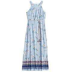 Girls 7-16 Three Pink Hearts Printed Halter Maxi Dress