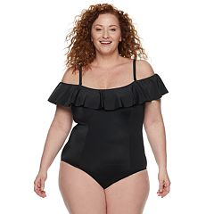 a702a6c2c1537 Plus Size EVRI Tummy Slimmer Ruffle One-Piece Swimsuit
