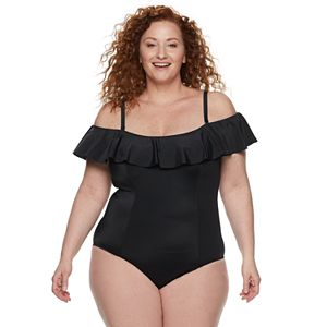 4e7f5f4301 Plus Size EVRI Ruched One-Piece Swimsuit. Sale