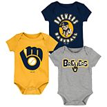 Baby Boy Milwaukee Brewers Everyday Fan Bodysuit 3-Pack