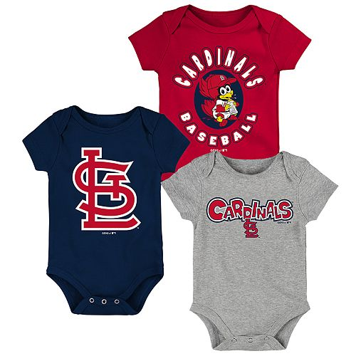 Louis Cardinals Baby//Infant Go Team 3 Piece Creeper Set Majestic St