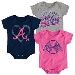 238c9d36e Baby Girl Atlanta Braves Cute Catcher Bodysuit 3-Pack