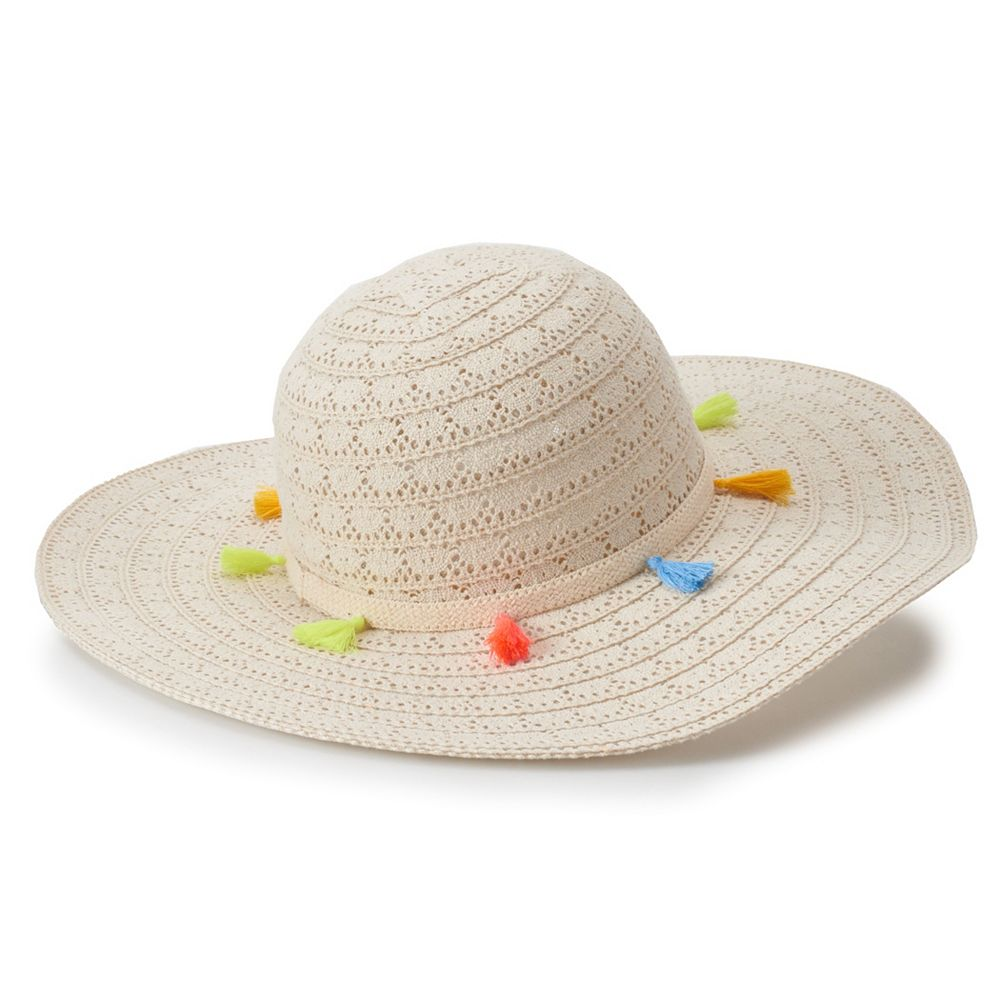 Juniors' Mudd® Tassel Trim Crochet Floppy Hat