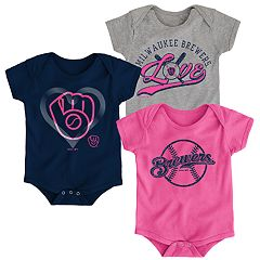 Baby Girl Milwaukee Brewers Cute Catcher Bodysuit 3-Pack