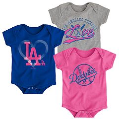Baby Girl Los Angeles Dodgers Cute Catcher Bodysuit 3-Pack