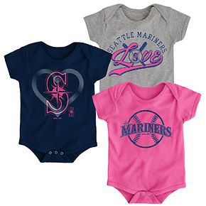 Baby Girl Seattle Mariners Cute Catcher Bodysuit 3-Pack