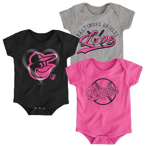 Baby Girl Baltimore Orioles Cute Catcher Bodysuit 3-Pack