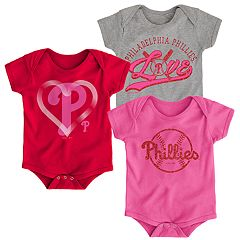 Baby Girl Philadelphia Phillies Cute Catcher Bodysuit 3-Pack