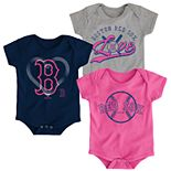 Baby Girl Boston Red Sox Cute Catcher Bodysuit 3-Pack