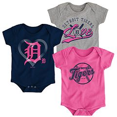 Baby Girl Detroit Tigers Cute Catcher Bodysuit 3-Pack