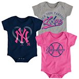 Baby Girl New York Yankees Cute Catcher Bodysuit 3-Pack