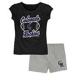 44bedb48c Toddler Girl Colorado Rockies Glitter Heart Tee & Shorts Set