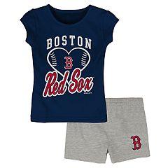 3f1ac131fb1dd Toddler Girl Boston Red Sox Glitter Heart Tee   Shorts Set