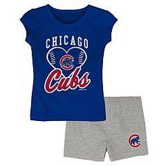 Toddler Girl Chicago Cubs Glitter Heart Tee   Shorts Set 1542da546