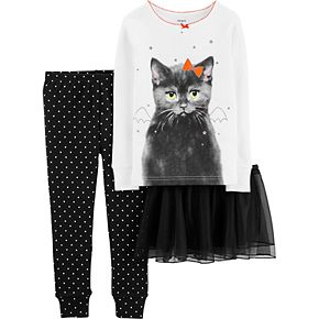 Toddler Girl Carter's 3-Piece Halloween Tutu Cat Snug Fit Cotton Pajama Set