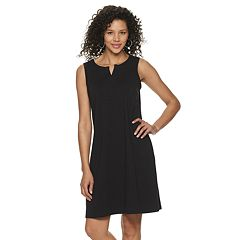Petite  Croft & Barrow Sleeveless Split-Neck Slub Dress
