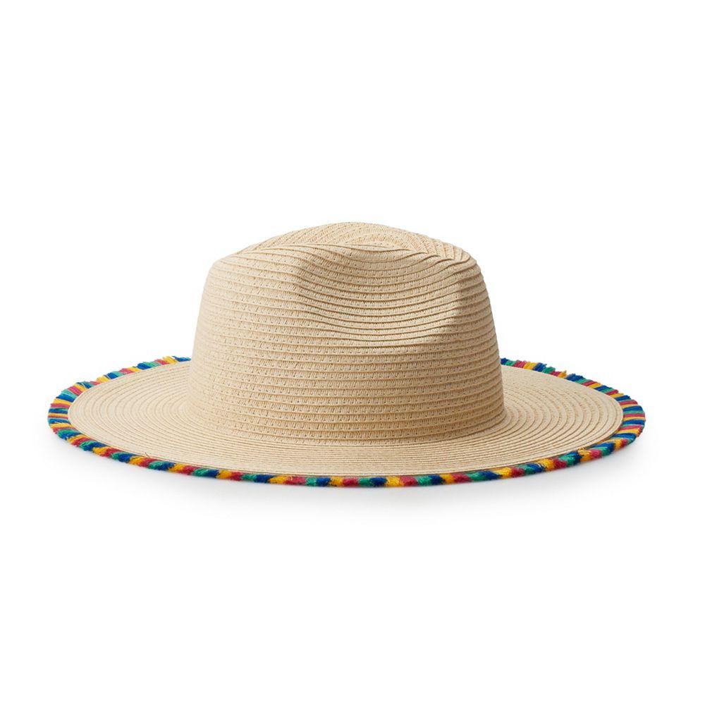 Juniors' Mudd® Rainbow Tassel Panama Hat