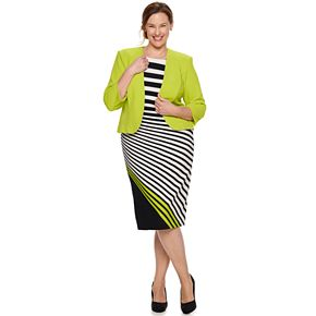 Plus Size Maya Brooke Asymmetrical Striped Dress & Jacket Set