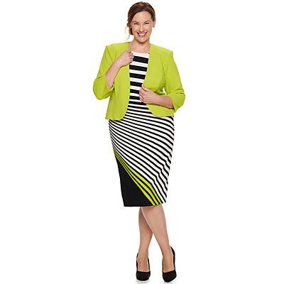 Plus Size Maya Brooke Asymmetrical Striped Dress & Jacket Set