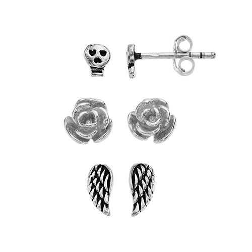 8e6e8b02f Itsy Bitsy Sterling Silver Edgy Stud Earring Set