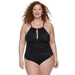 b6613fffa56 Plus Size EVRI High-Neck One-Piece Swimsuit
