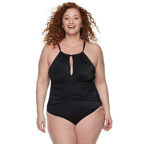 Plus Size EVRI High-Neck One-Piece Swimsuit