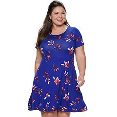 63745be94ba Plus Size EVRI Fit   Flare Dress. Mineral Black Blue Floral ...