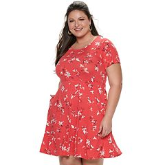 4eb979a20ae Plus Size EVRI Fit   Flare Dress. Mineral Black Black Teal Dot Blue Floral  ...