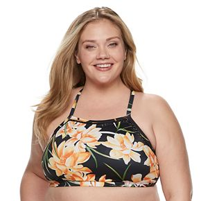 Plus Size EVRI Floral High-Neck Bikini Top