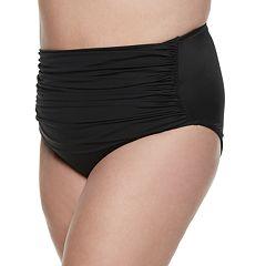 54534c1619384 Plus Size EVRI Ruched High-Waisted Bikini Bottoms