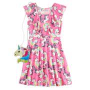Girls 7-16 Lavendar Ruffle Dress & Purse Set
