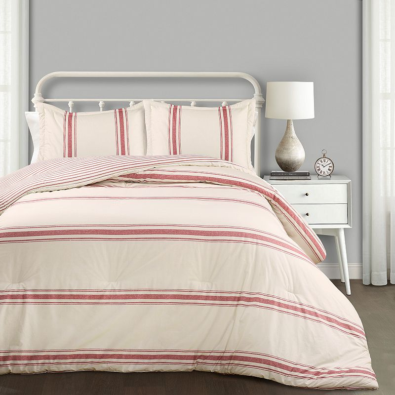 Decorate your master or guest bedroom with a traditional farmhouse style with this comforter set. All season warmth Reversible FULL/QUEEN 3-PIECE SET Comforter: 90\\\'\\\' x 92\\\'\\\' Two shams: 20\\\'\\\' x 26\\\'\\\' (each) CONSTRUCTION AND CARE Cotton, polyester Machine wash Imported Size: King. Color: Red. Gender: unisex. Age Group: adult. Pattern: stripe.