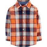 Toddler Boy Carter's Plaid Poplin Button-Front Shirt