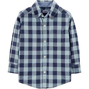 Toddler Boy Carter's Checkered Poplin Button-Front Shirt