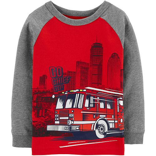 Toddler Boy Carter's Firetruck Raglan Tee