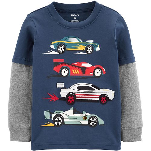 Toddler Boy Carter's Race Car Layered-Look Jersey Tee