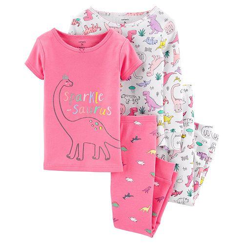 Toddler Girl Carter's 4-Piece Dinosaur Snug Fit Cotton PJs