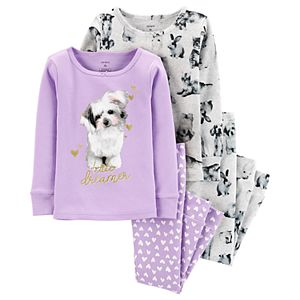 Toddler Girl Carter's 4-Piece Dog Snug Fit Cotton PJs