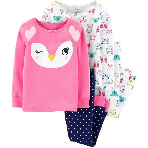 Toddler Girl Carter's 4-Piece Owl Snug Fit Cotton PJs