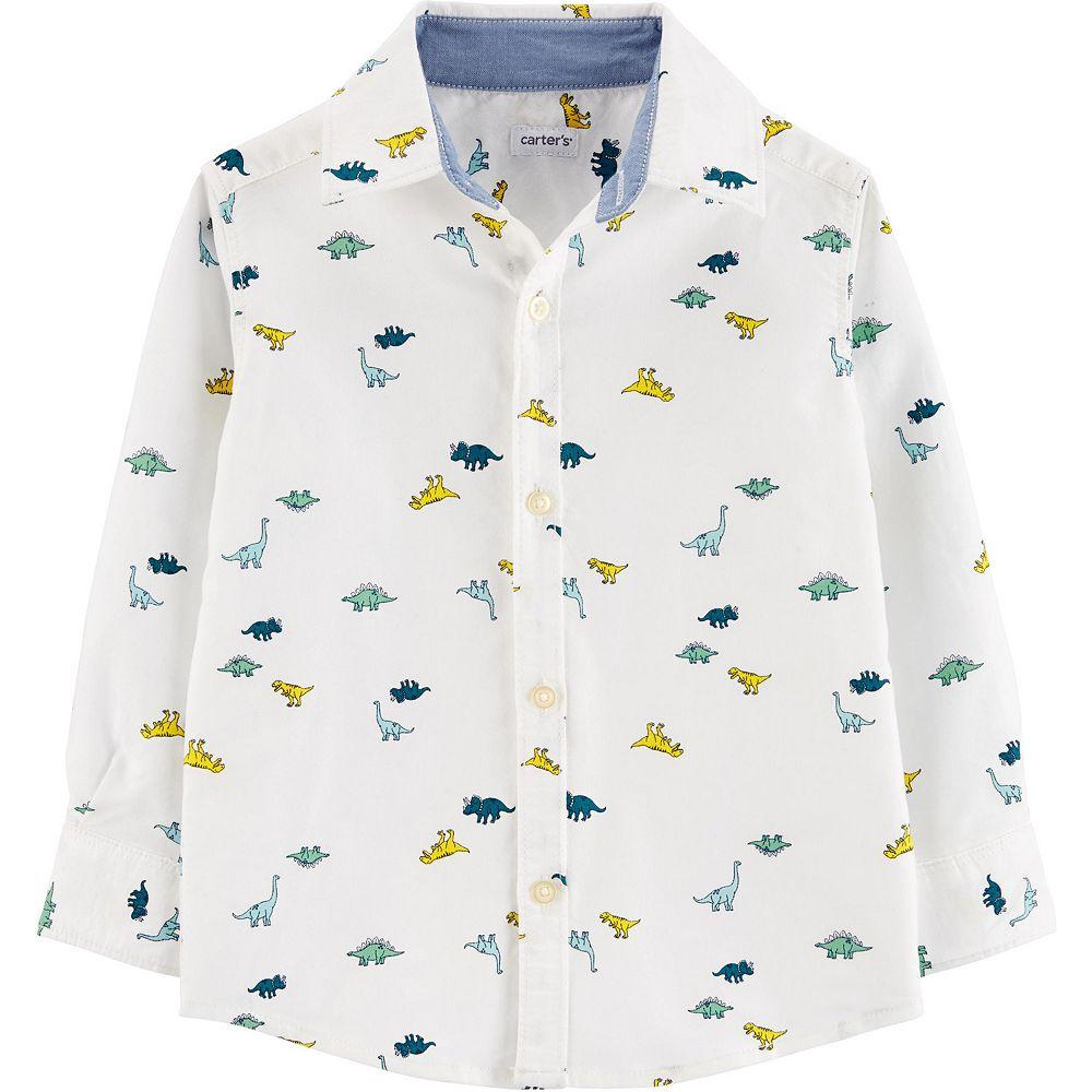 Toddler Boy Carter's Dinosaur Oxford Button-Front Shirt