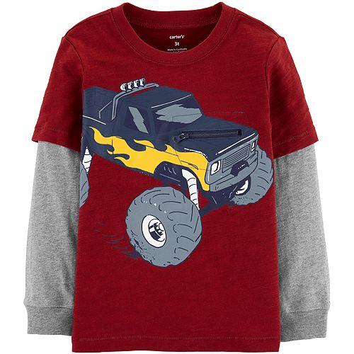 Toddler Boy Carter's Interactive Monster Truck Layered-Look Slub Tee