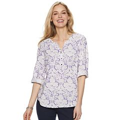 Women's Croft & Barrow 3/4 Sleeve Print Popover Top
