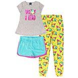 Girls 4-16 Jelli Fish Top Shorts & Jogger Pants Pajama Set