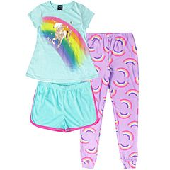 Girls 4-16 Jelli Fish Top, Shorts & Jogger Pants Pajama Set